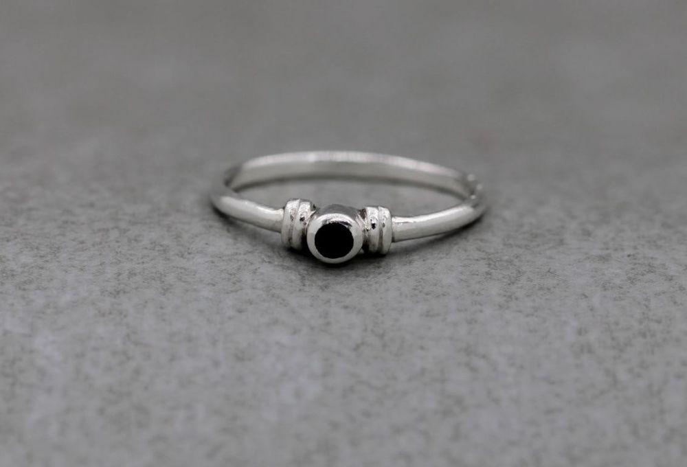 Slim sterling silver & black onyx ring