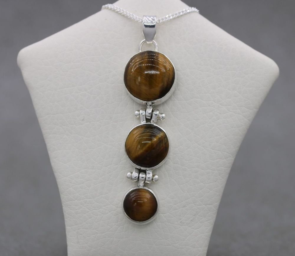 Sterling silver & tigers eye necklace