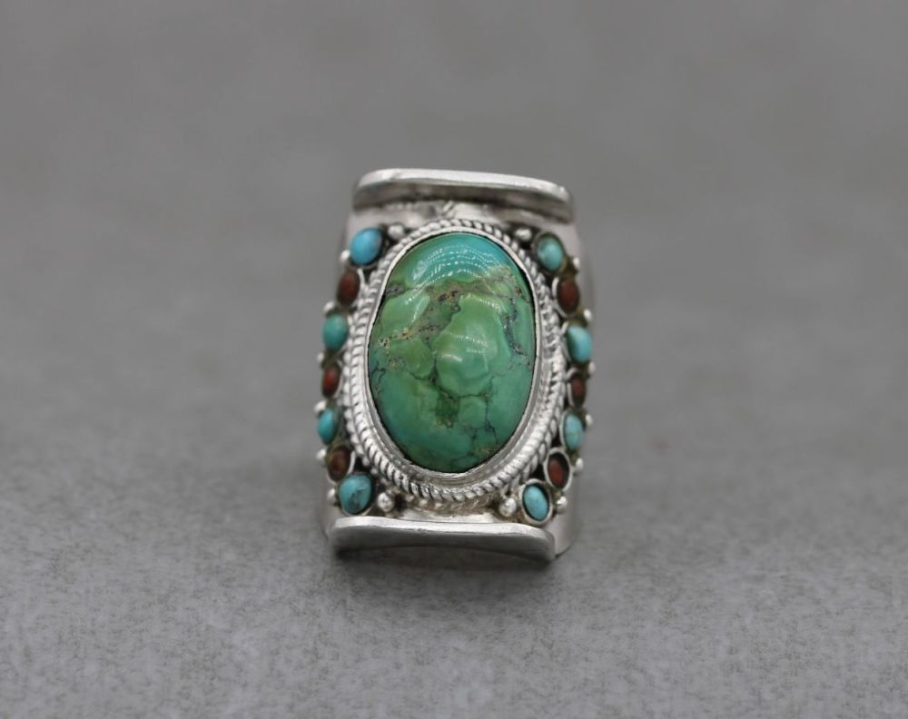 South western sterling silver, turquoise & coral ring