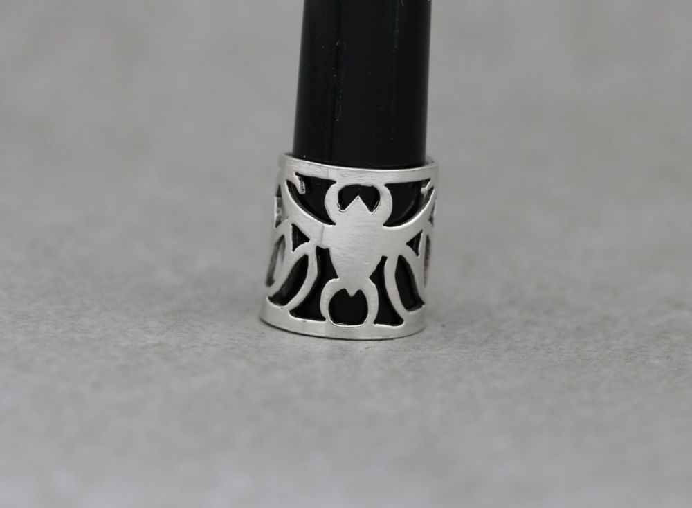 Sterling silver midi ring with a cut-out bat