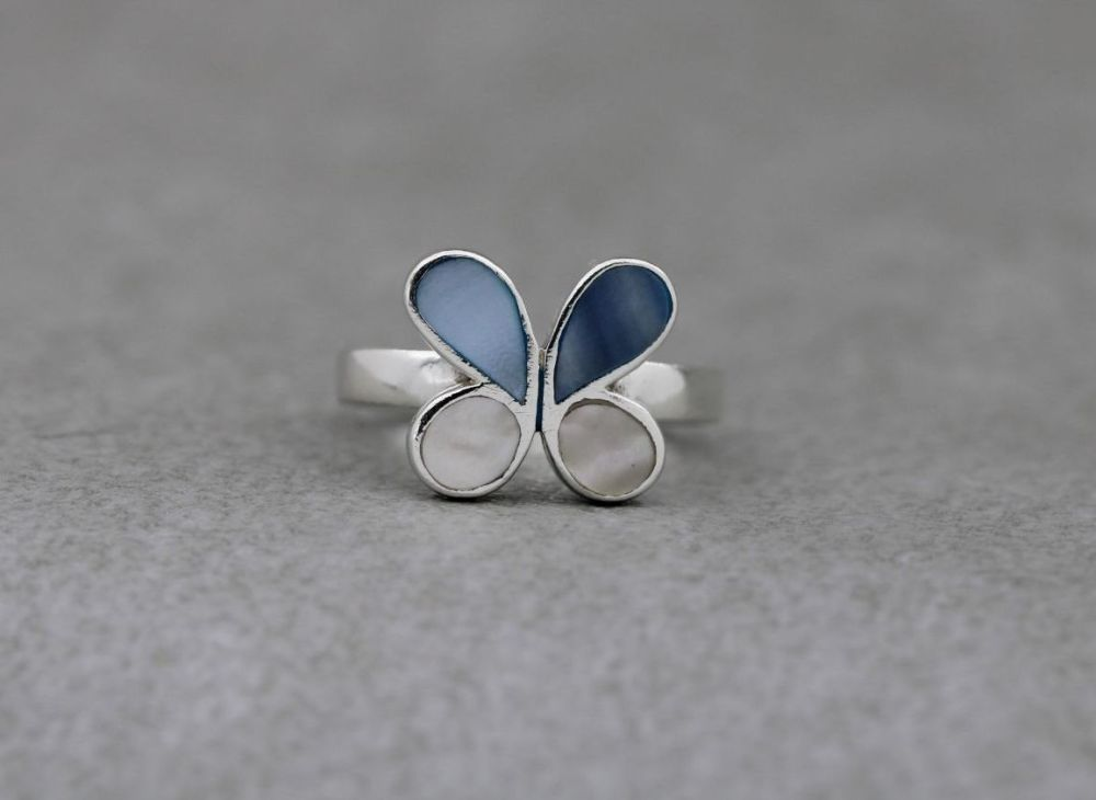 Sterling silver butterfly ring with mother of pearl inlaid wings