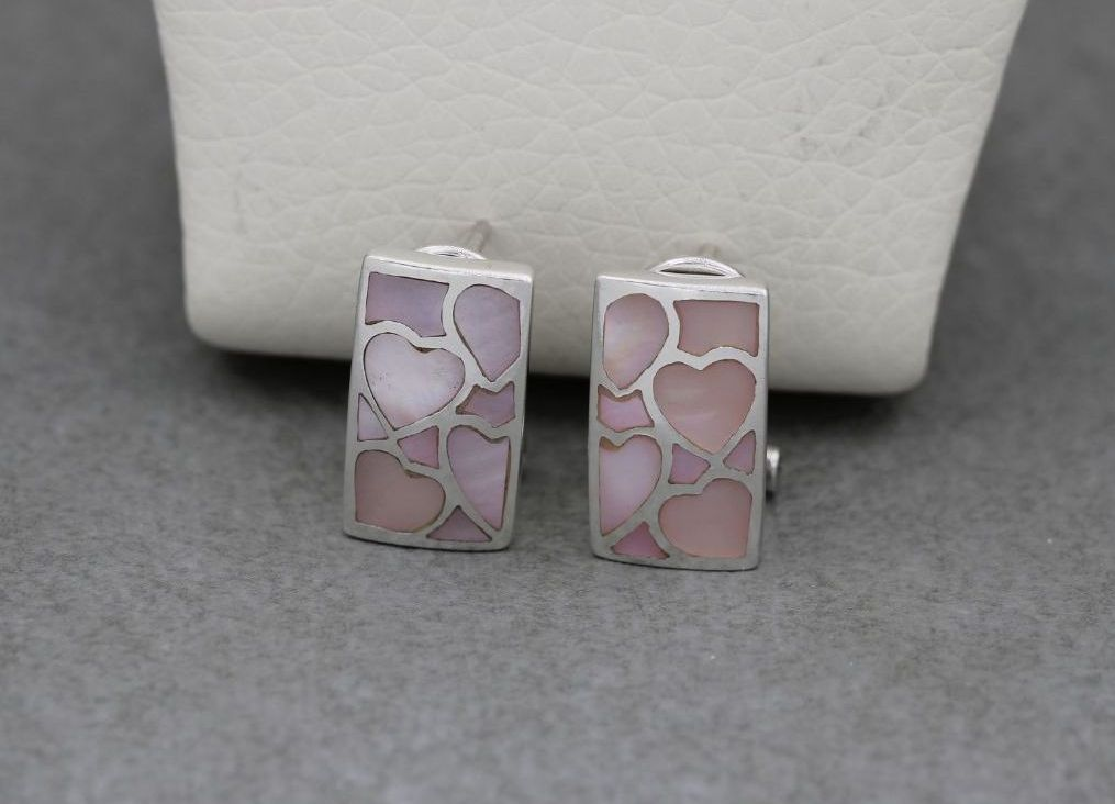 Sterling silver & pink mother of pearl heart design earrings