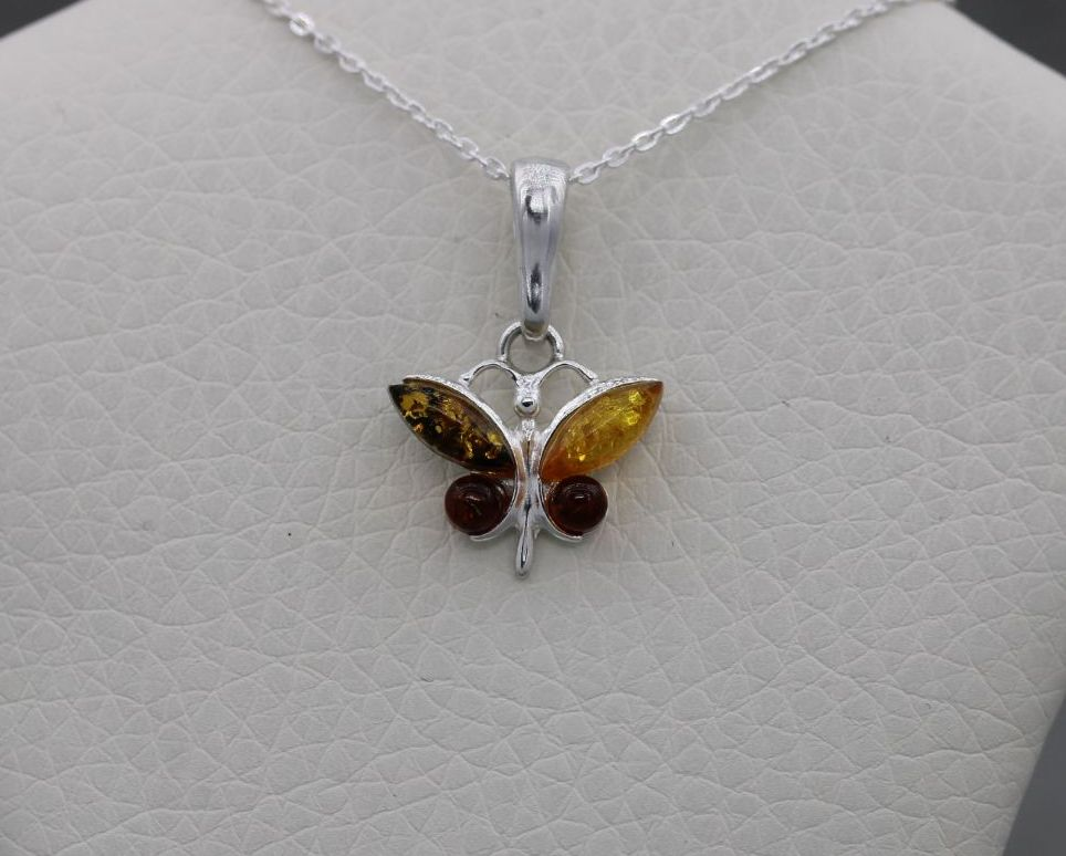 Small sterling silver & pressed multi-amber butterfly necklace