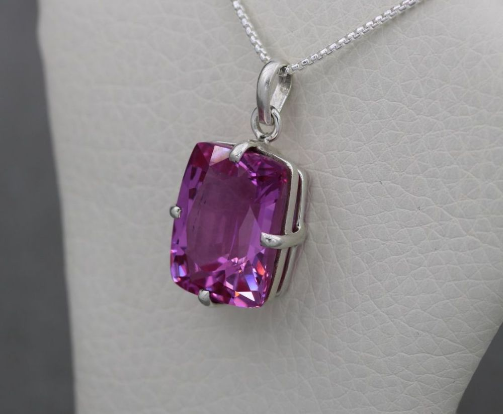 Bold sterling silver & faceted pink stone necklace