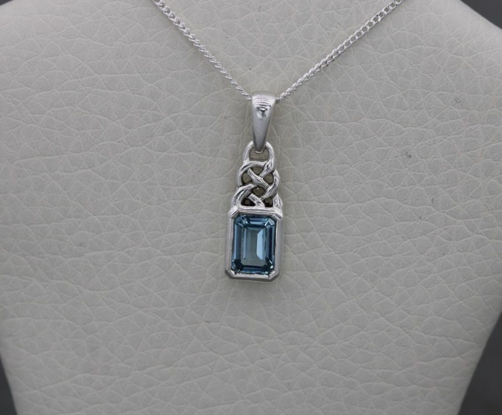 Small Celtic sterling silver & blue topaz necklace