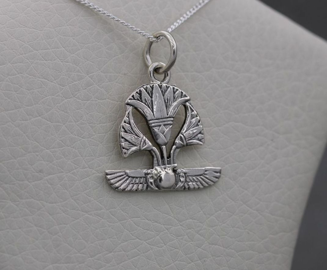 Egyptian 800 silver lotus flower necklace