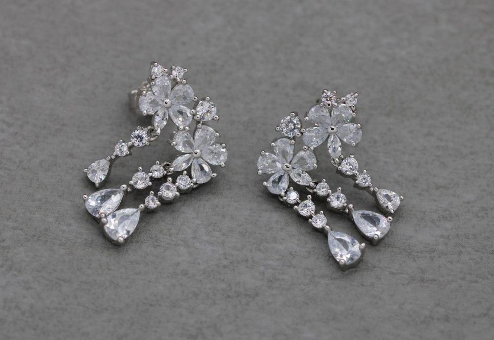Elegant sterling silver & crystal floral dropper earrings