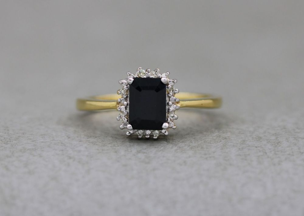 Gold plated sterling silver cluster ring with sapphire & diamonds
