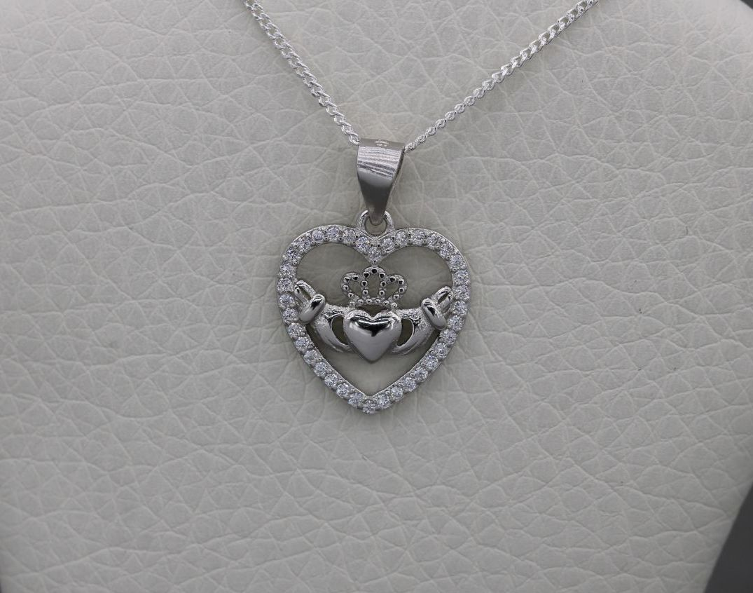 Small sterling silver & clear stone heart claddagh necklace
