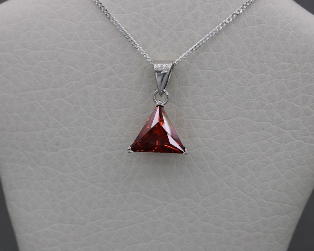 Small sterling silver & red triangular stone necklace