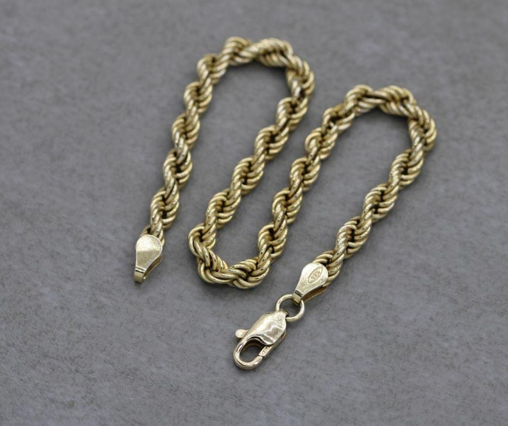 Gilt sterling silver rope chain bracelet