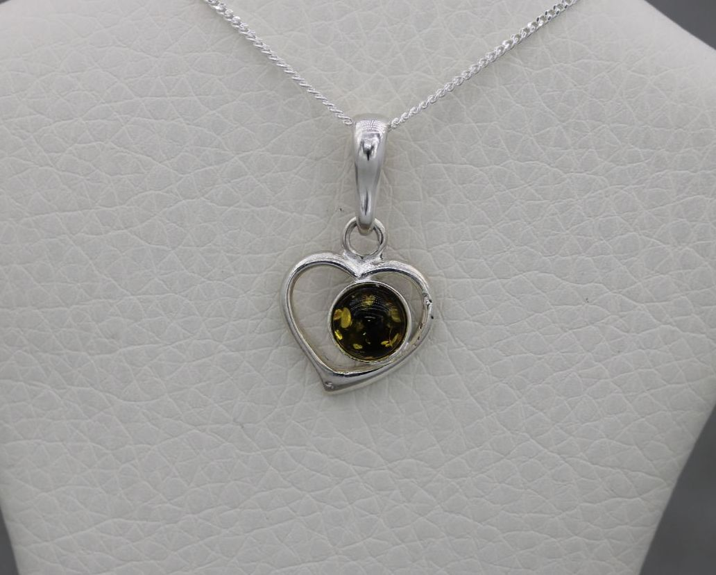 Small sterling silver & pressed amber heart necklace