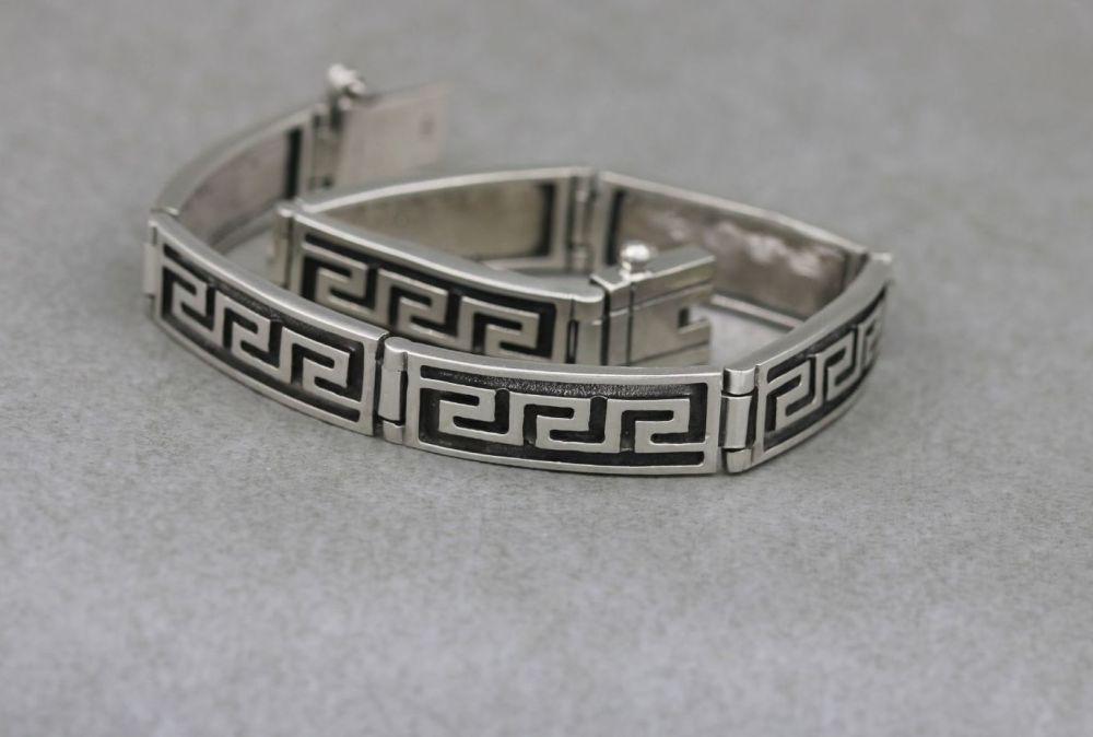 Sterling silver Greek key panel bracelet
