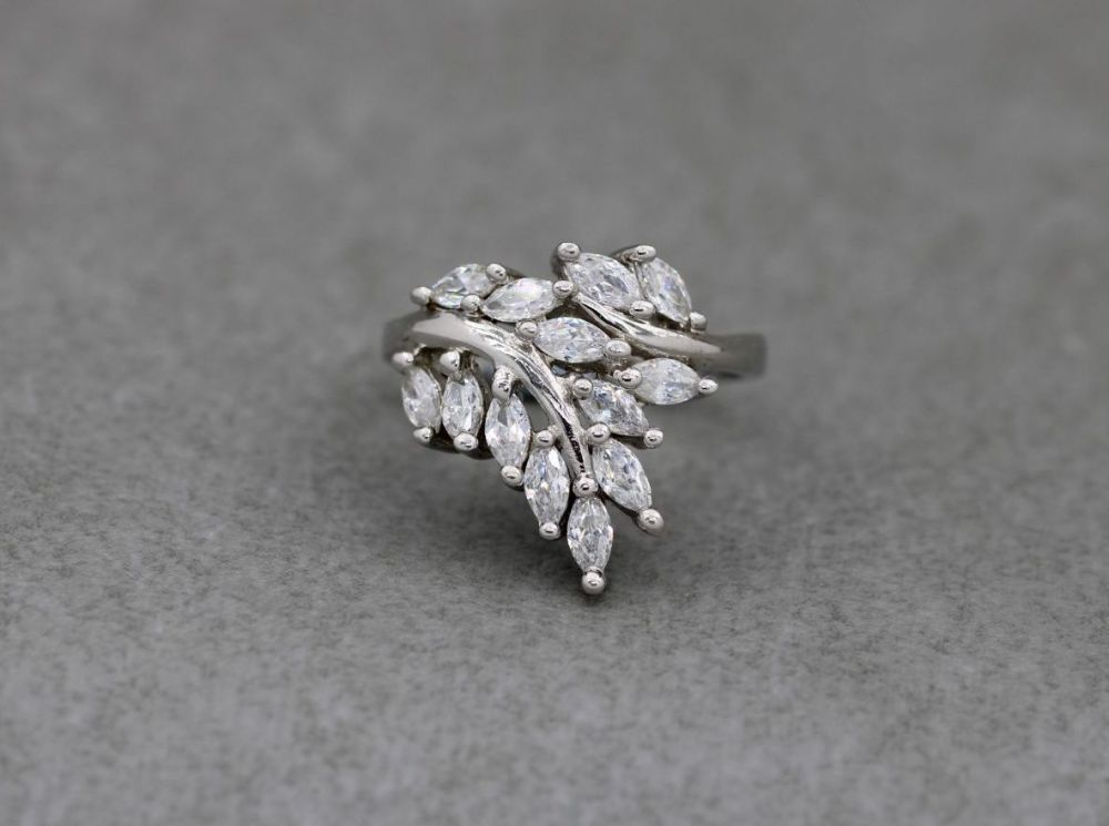 Sterling silver & clear stone floral spray ring