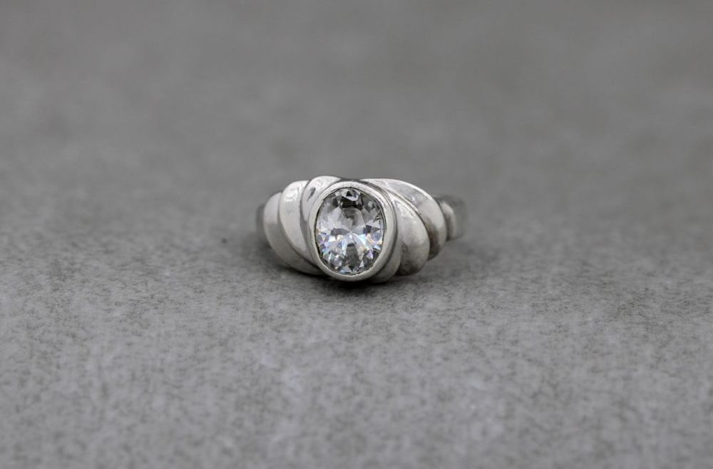 Unusual rippled sterling silver solitaire ring