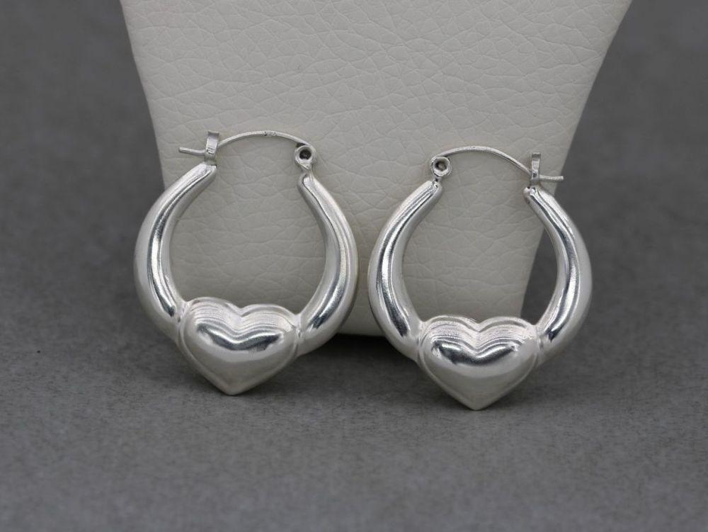 Sterling silver puffy heart hoop earrings
