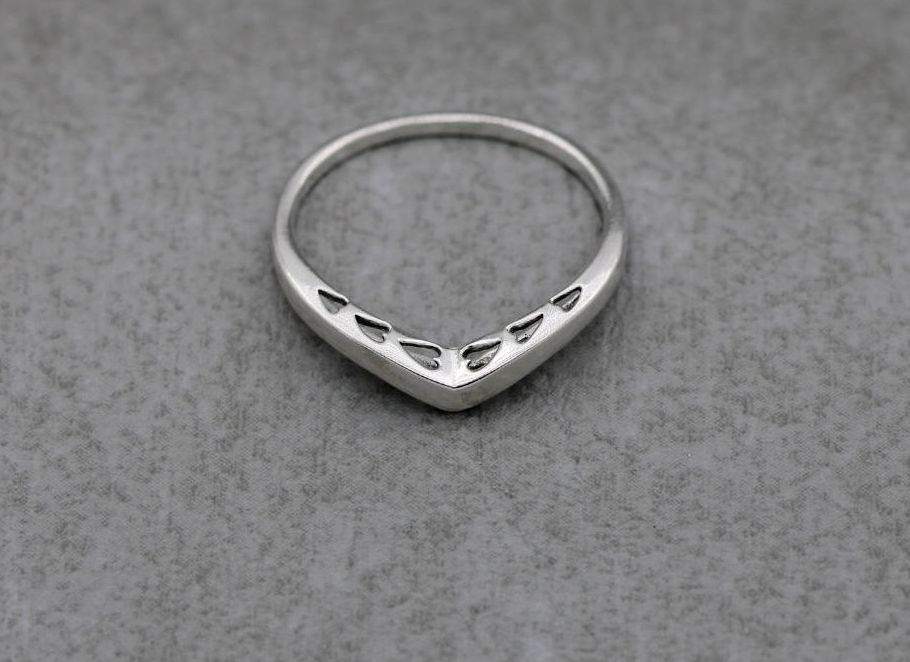Sterling silver wishbone ring with cut-out heart detail