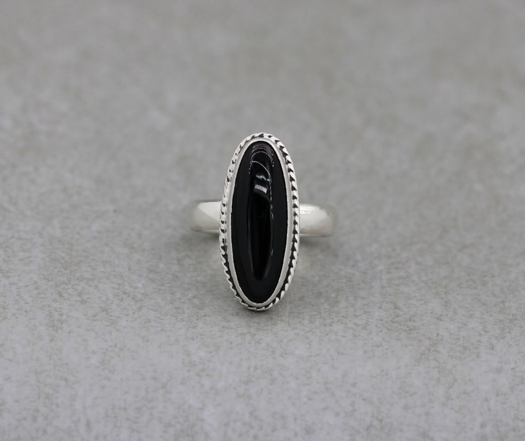 Oval sterling silver & black onyx ring