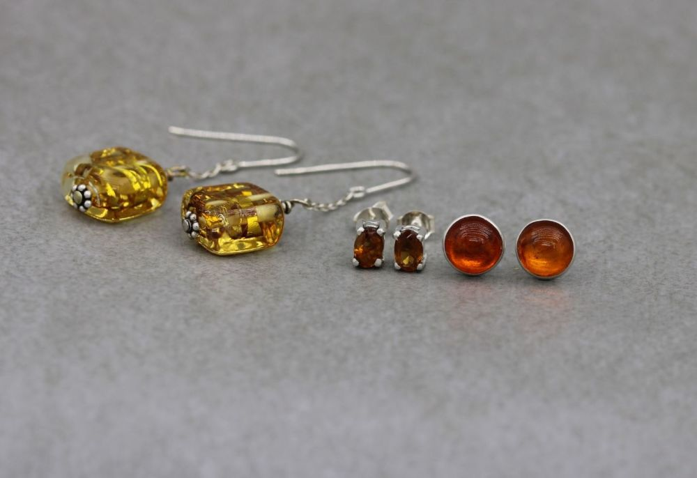 3 x pairs of sterling silver earrings; orange & yellow