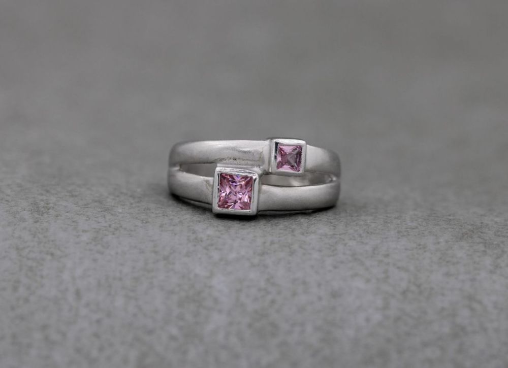 Matt finish sterling silver ring with pink square stones