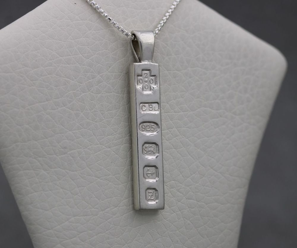 Solid sterling silver ingot & rounded box chain