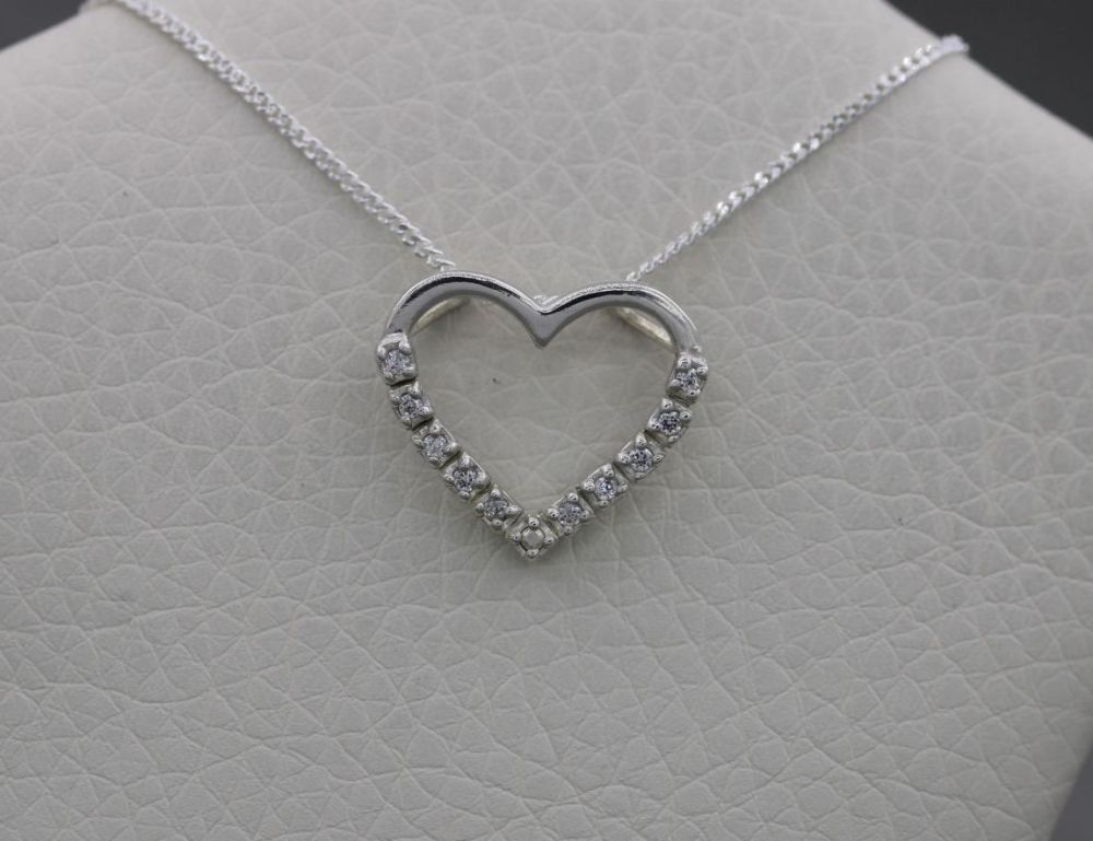 Sterling silver heart necklace with clear stones