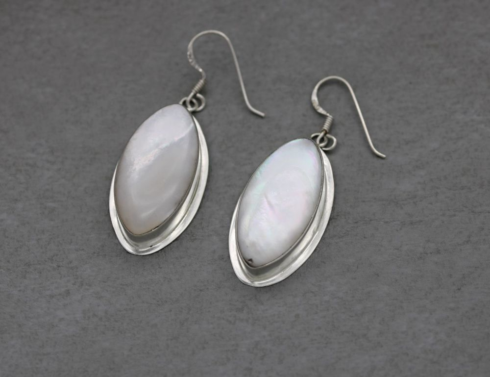 Large sterling silver & mother of pearl earrings