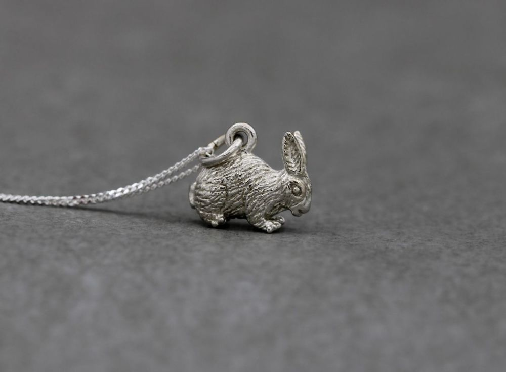 Sterling silver necklace with a cute 3D textured rabbit