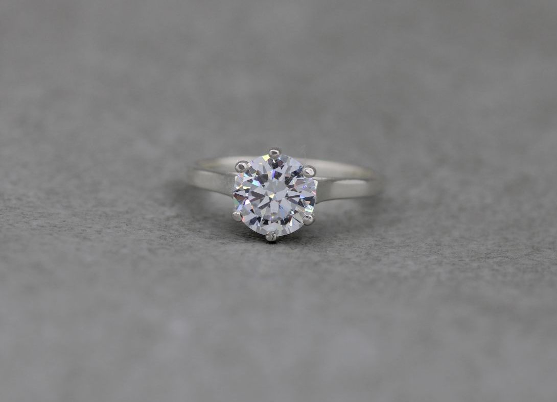 Classic sterling silver solitaire ring