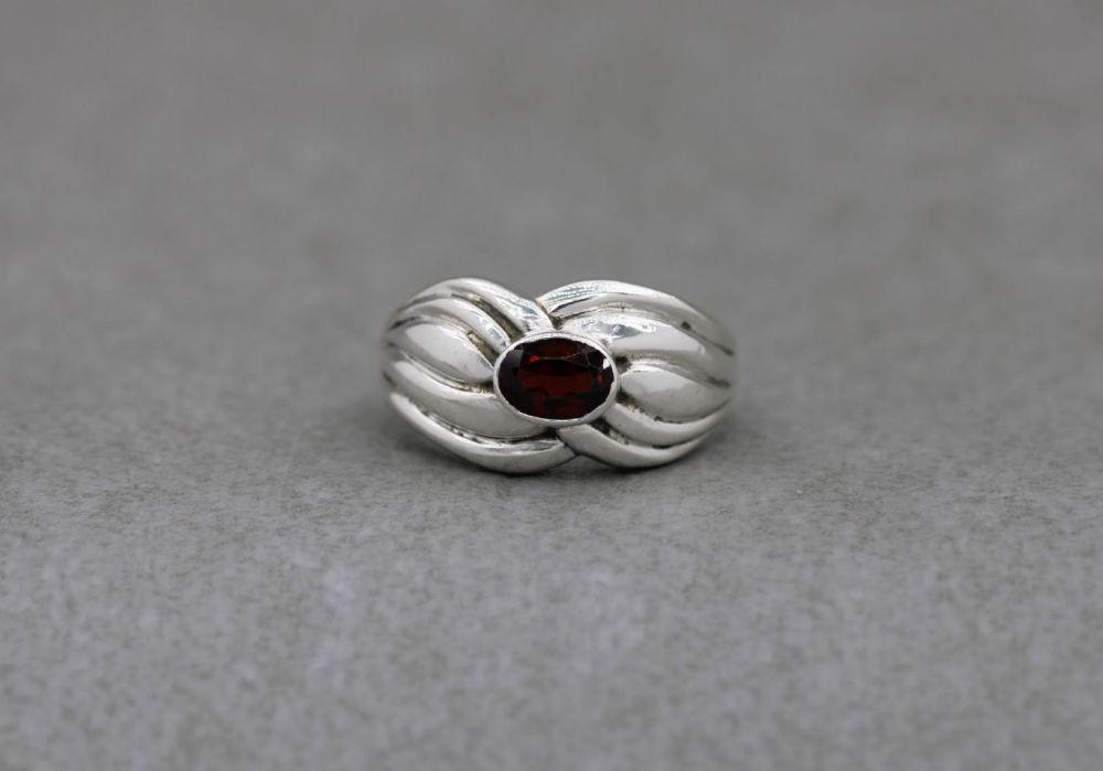Bold sterling silver & garnet ring