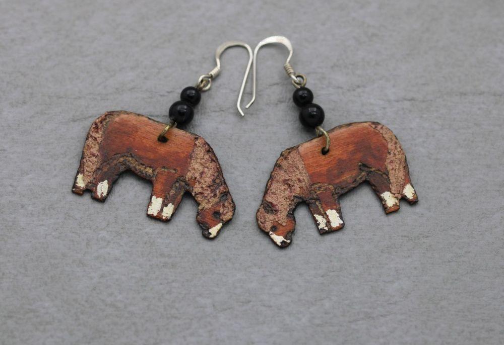 Handmade wooden horse earrings with sterling silver hooks