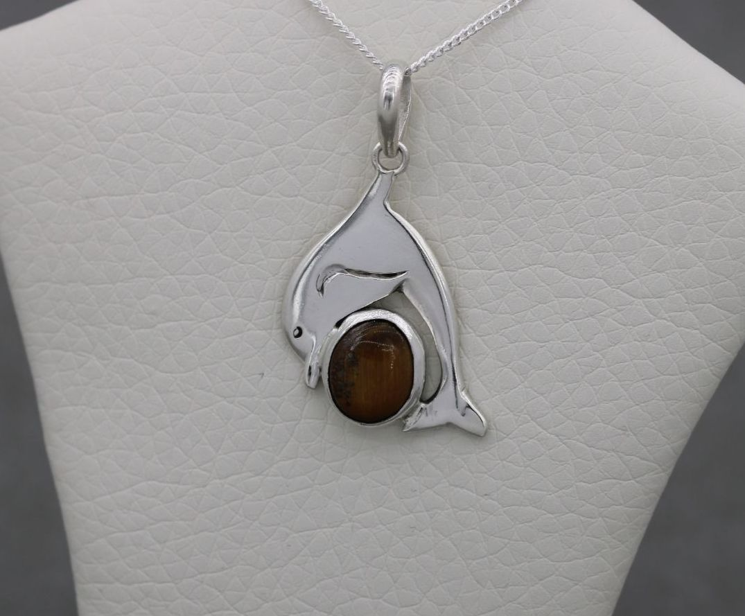 Sterling silver & tiger's eye dolphin necklace