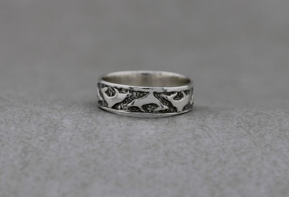 Sterling silver chased Dolphin ring
