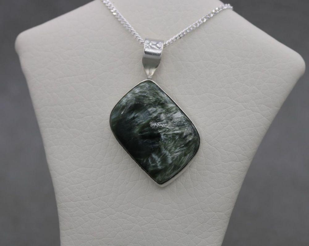 Sterling silver & seraphinite necklace