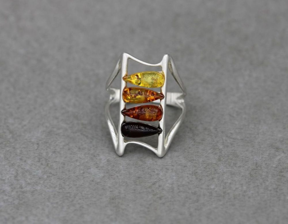 Sterling silver & pressed multi amber ring (L)