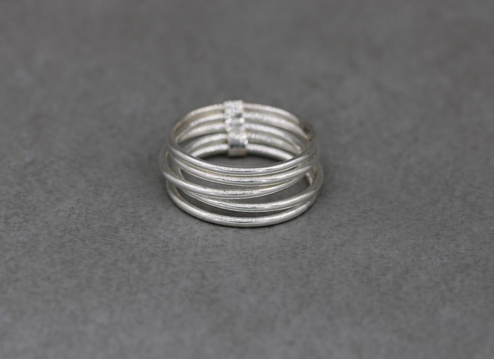 Sterling silver multi-band stacked ring (M)