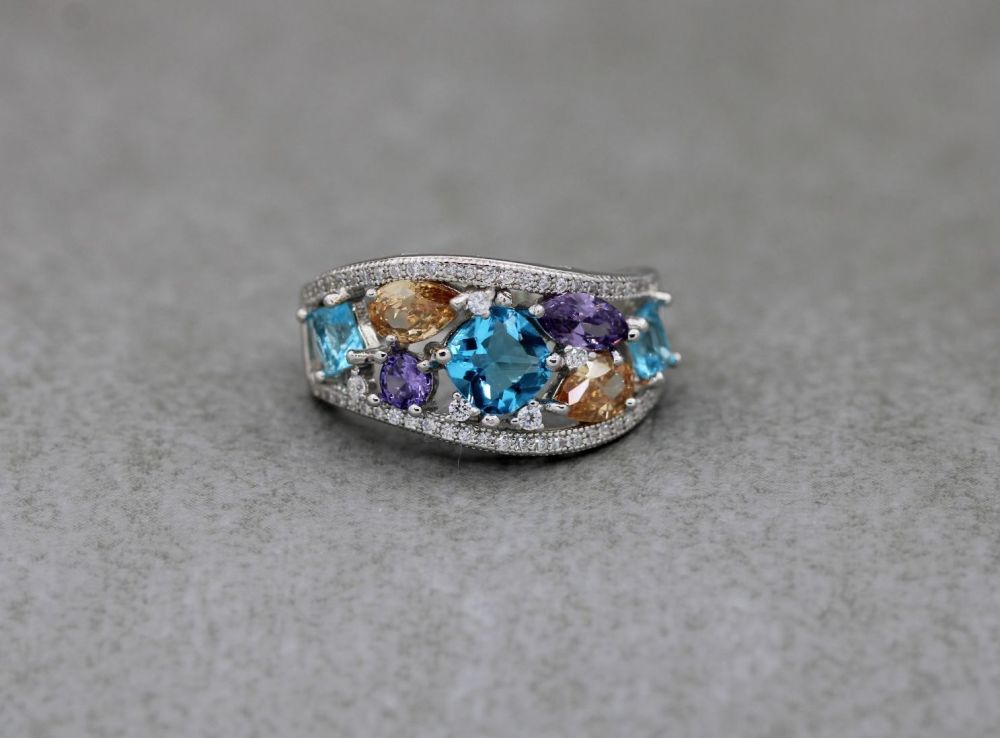 Graduated sterling silver ring with multi-colour stones (R)