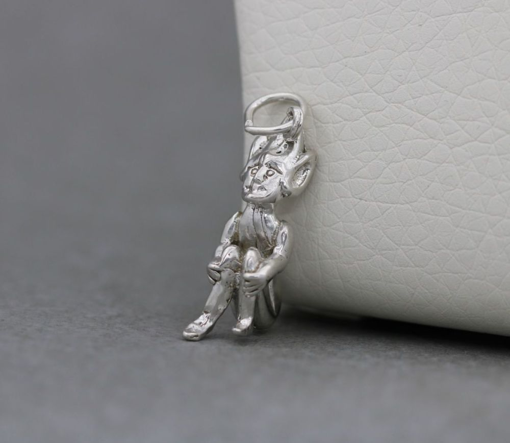 Sterling silver sitting elf / pixie charm