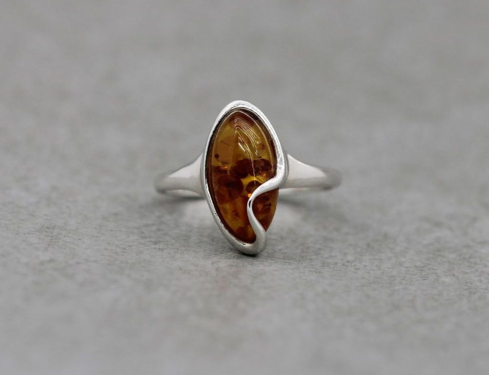 Sterling silver & amber ring