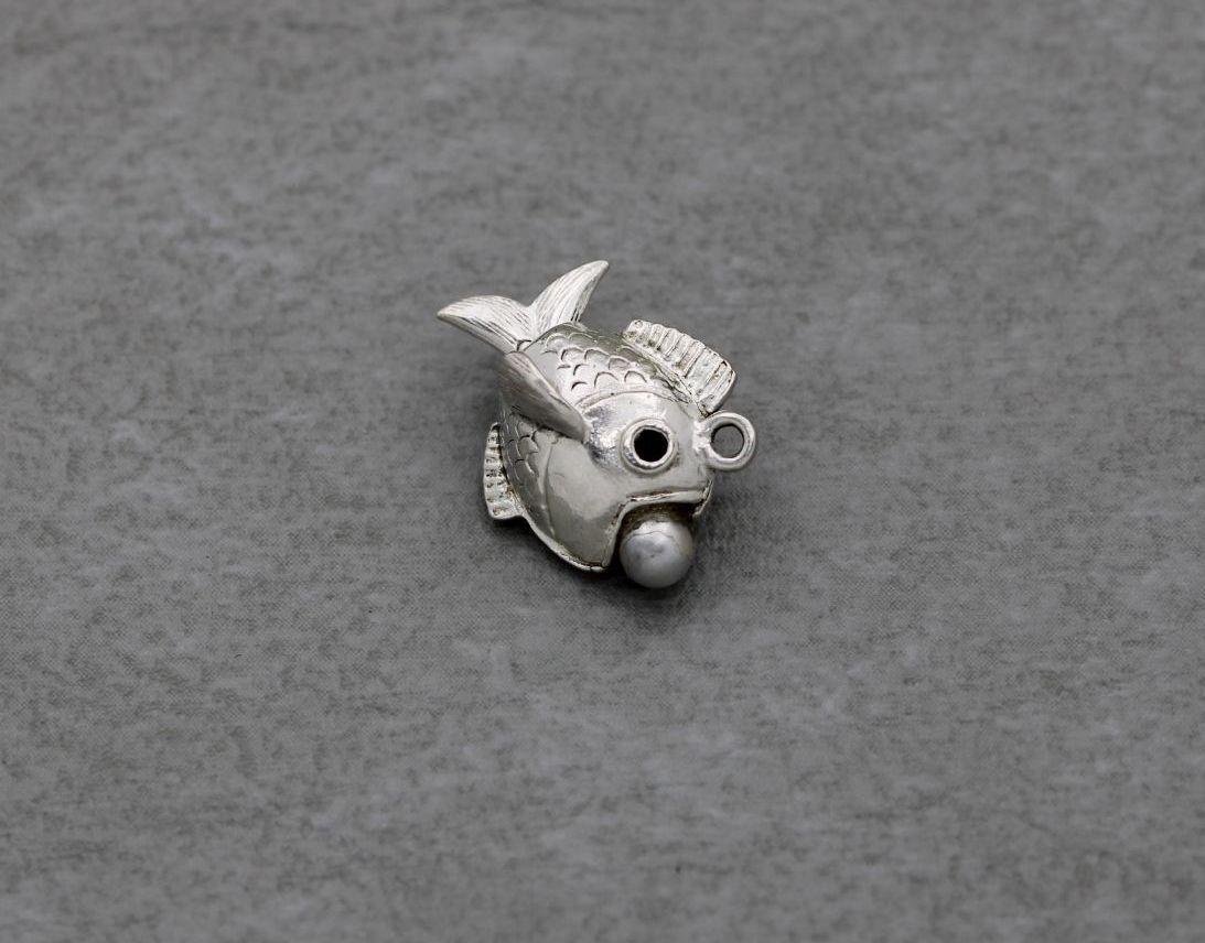 Vintage silver fish charm