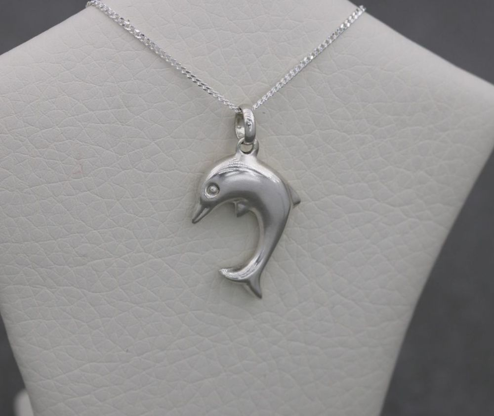 Sterling silver puffy dolphin necklace