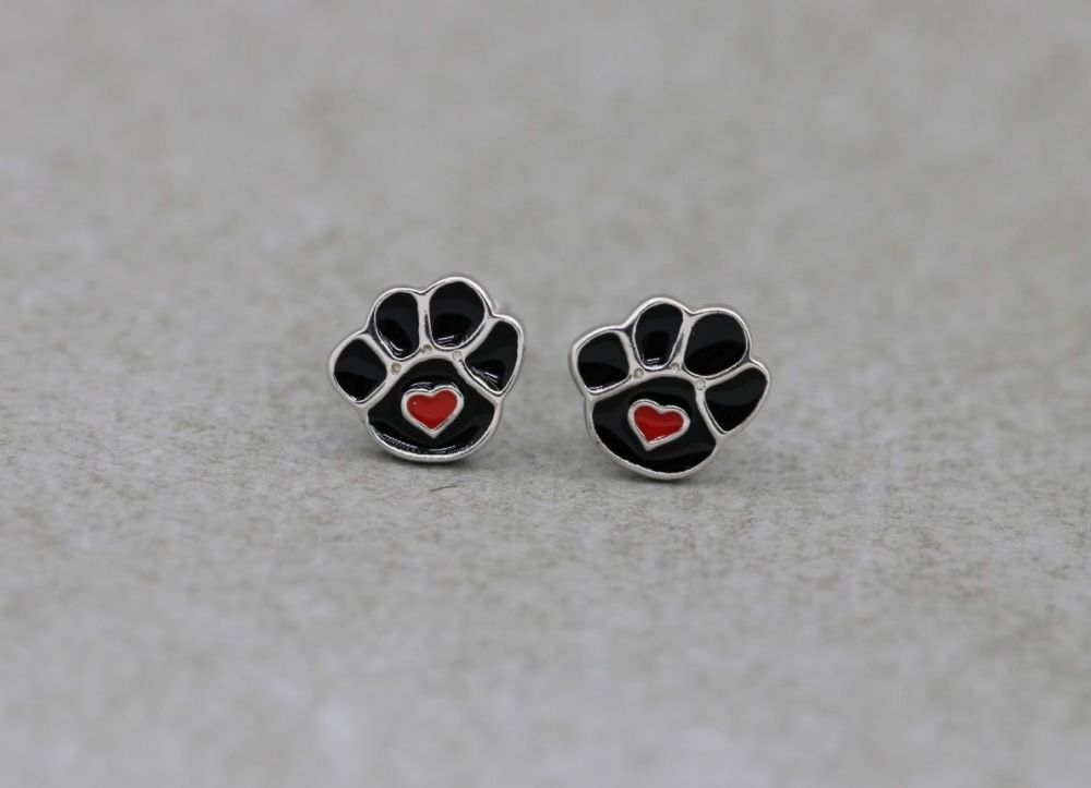Small sterling silver & enamel paw print stud earrings