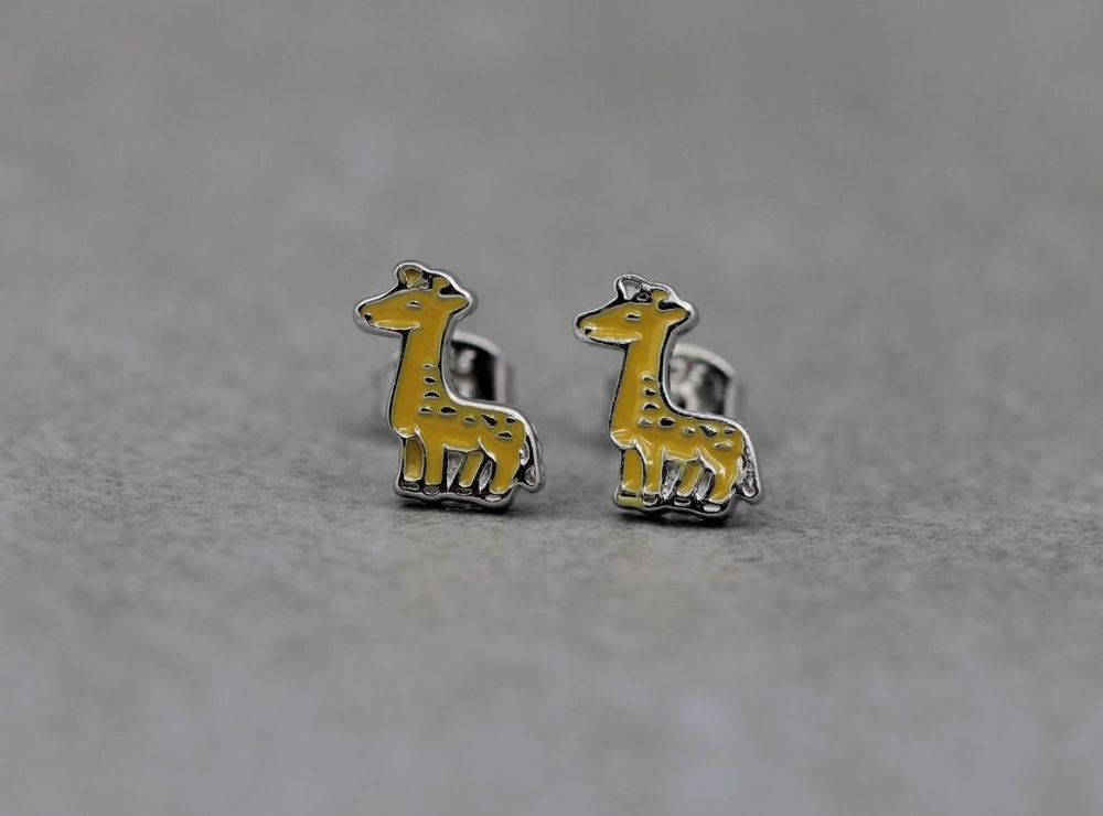 Small sterling silver & enamel giraffe stud earrings