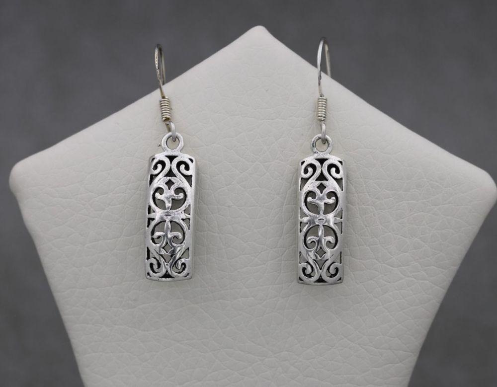 Fancy rectangular sterling silver earrings