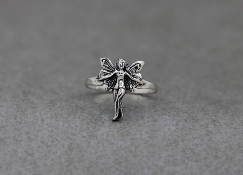 Sterling silver fairy / nymph ring (L)