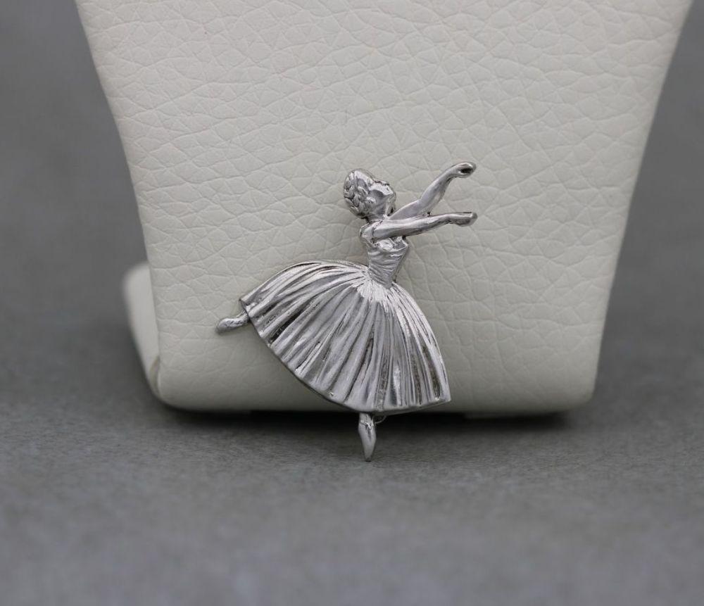Vintage sterling silver ballerina brooch