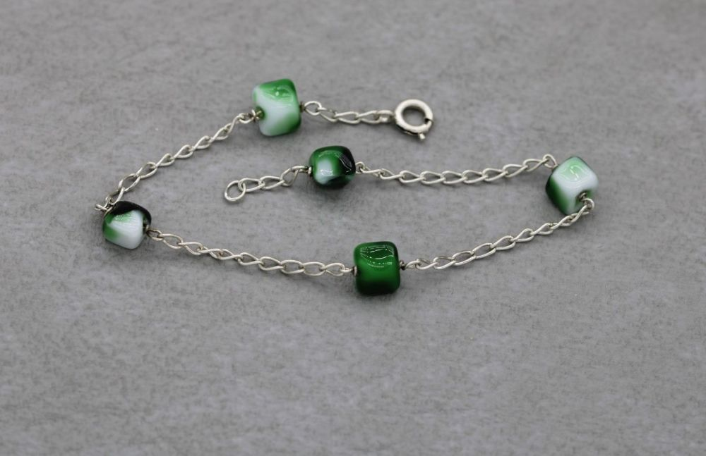 Sterling silver bracelet with green & white glass irregular cube beads