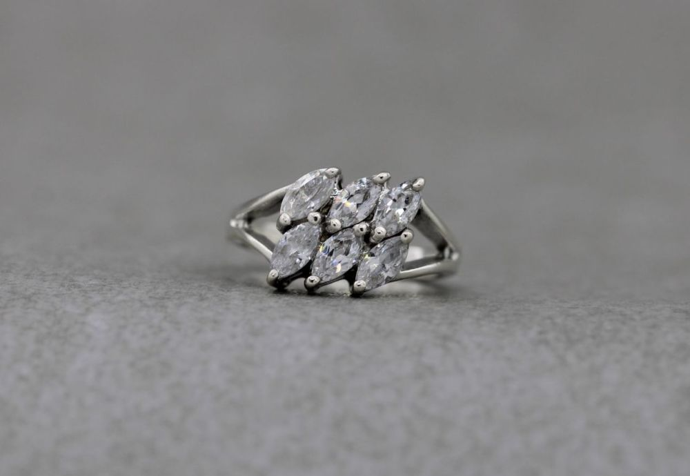 Sterling silver & clear marquise stone ring