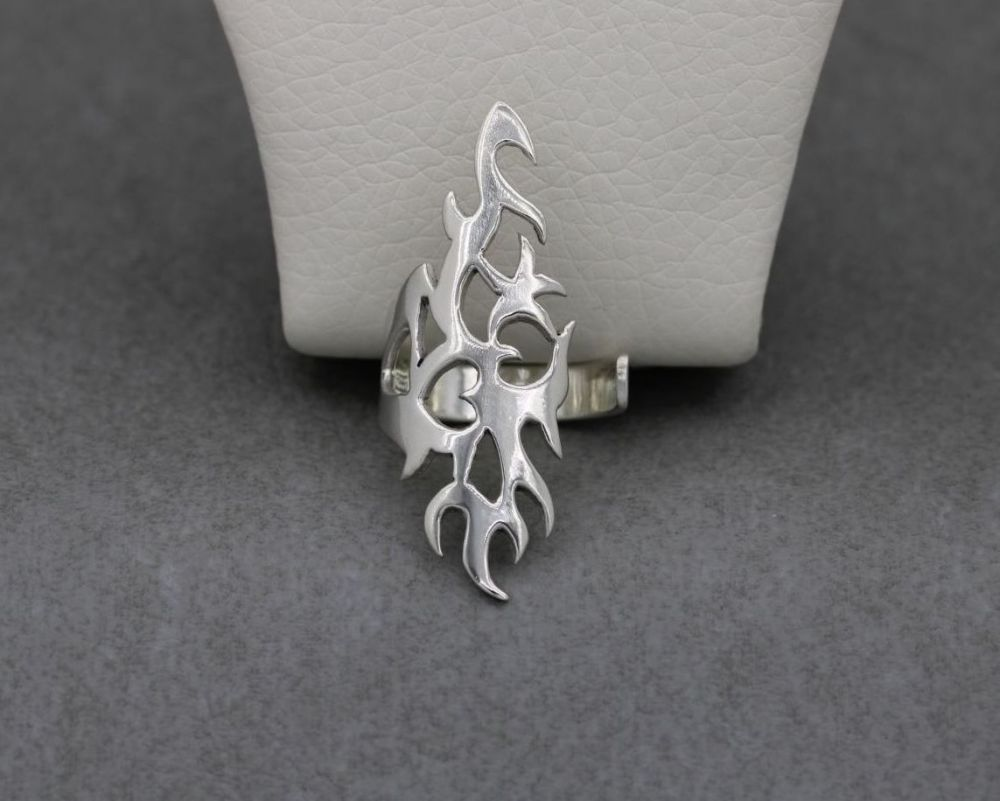 Handmade long asymmetric sterling silver adjustable ring