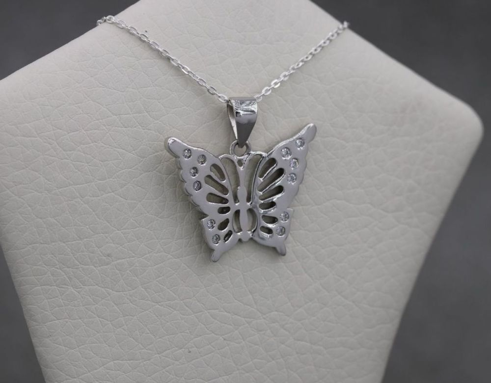 Sterling silver butterfly necklace with clear stone detail